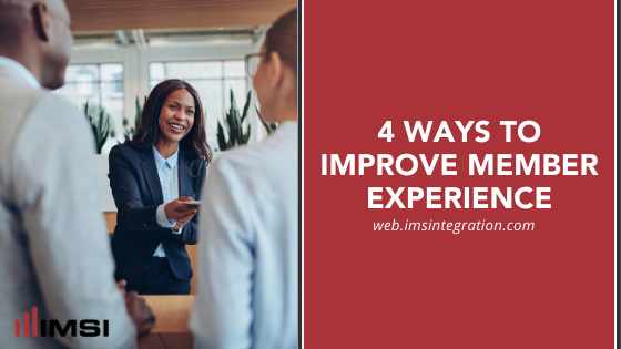 Woman greeting two customers, title 4 Ways to Improve Member Experience